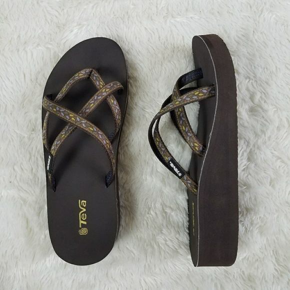 801eb7e42182 TEVA Mush Mandalyn Wedge Flip Flop Sandals Brown 9.  M 5b03235e2c705db48fd82819